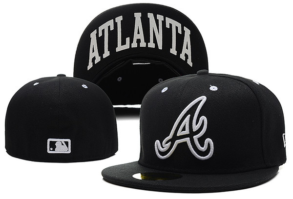One Piece New Arrival Braves Fitted Hats Letter A Embriodery Team Logo Brand Fans City Name Print Under Brim Sports Baseball Caps