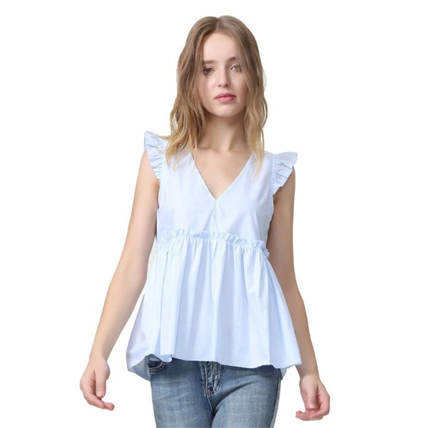 Women Elegant Ruffled Blouses V Neck Back Bow Tie Sleeveless Pleated Shirt Ladies Casual Sweet Chic Tops Blusas Wa014