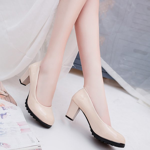Dress Shoes Free Shipping Women Pumps 2019 New Autumn Waterpro The Shallow Mouth Round Head High Heels Single Ol Women's