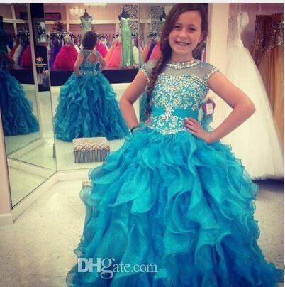 Fashion Blue Ruffles Crystal Girls Pageant Dresses Ball Gown Organza Keyhole Back Sequins Jewel Sheer Neck Infants First Communion Dress