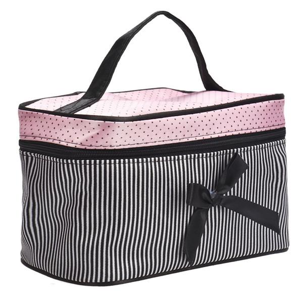 Neue Kosmetiktasche Bowknot-Streifen-Make-upquadrat-Aufbewahrungsbox bilden Organisator-Behälter-Beutel / Beuteltropfenverschiffen S5d