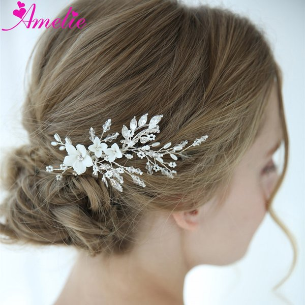 Elegant Headpieces Barrette Boho Delicate Crystal White Porcelain Flower Bridal Hair Clip Wedding Hair Ornament Jewelry