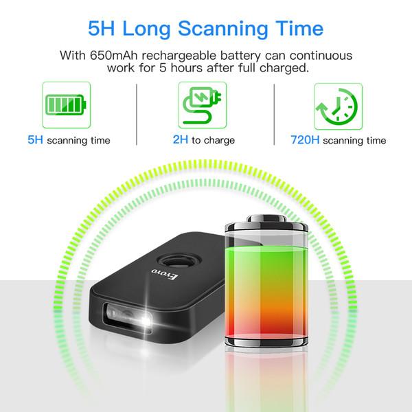 Eyoyo Mini Bluetooth 2D Barcode Scanner 2.4G Bluetooth de códigos de barras 1D Lector Escáner portátil QR de imágenes para Android