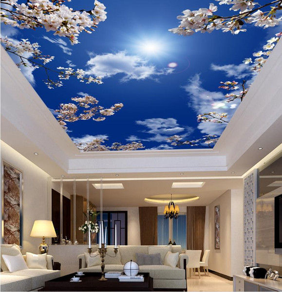 Cutan N'importe quelle taille 3D StéréoOriginal ciel bleu, nuage blanc, murales de rideaux papier peint salon papiers peints décor à la maison décoration murale moderne Paintinggut