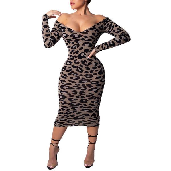 Party Leopard Print Off Shoulder V Neck Long Sleeve Sexy Women Bodycon Dress 2019