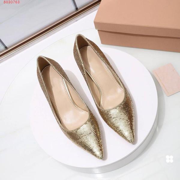 Hochwertige elegante Frauen Kleid Schuhe Pailletten Feine Ferse Sexy und Mode schöne Gold Silber Schwarz Code Nummer 34-40 Mit einer Höhe von 5,5