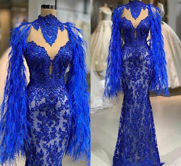 2019 Abito da ballo blu royal Perle applicate in pizzo Piuma scintillante Abiti da sera a sirena Abiti da festa Abiti da spettacolo sexy con collo alto africano
