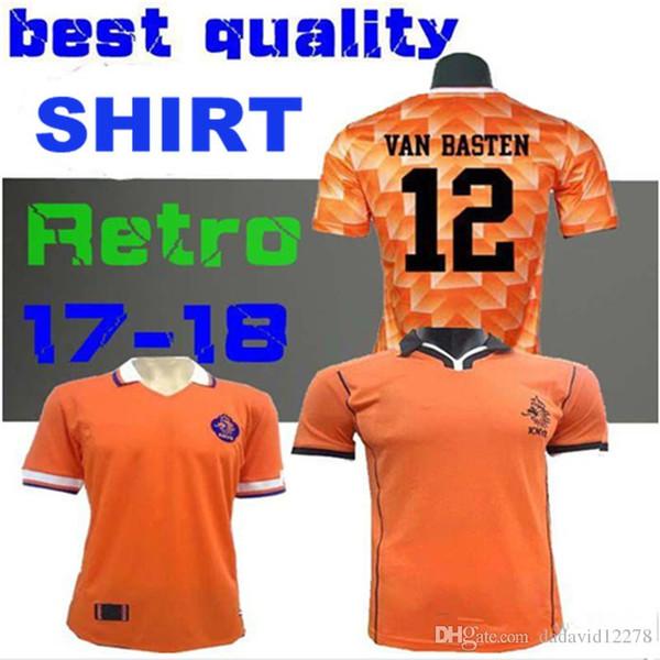 Top qualité 88 89 Maillot de foot Retro Pays-Bas Van Basten Gullit 98 99 Voetbal Shirt Seedorf Bergkamp Holland 1988 1998 Maillots de foot