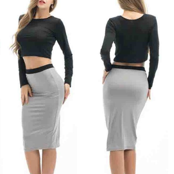 Crop Top Skirt Set Women 2 Piece Black Tops Grey Skirts Bodycon Suit Set Ladies Summer Sexy