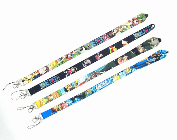 Hot Sale! DHL Free Shipping 200 pcs Popular Japanese Anime ONE PIECE Key Chains Mobile Cell Phone Lanyard Neck Straps can choose Style