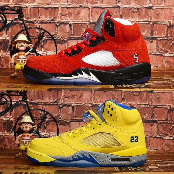 AIR New 5s 5 Basketball Shoes Mens Raging Bull Laney sneakers Men Wings Trophy Room x Oreo Yellow Zapatillas hombre sports shoes