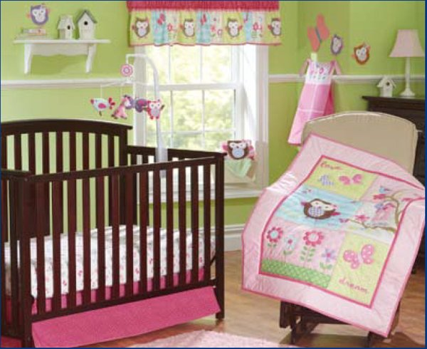 Wholesale Baby bedding set for Newborn 7Pcs Crib bedding set Embroidery owl butterfly flowers Cot bedding set Baby Quilt Bed around Mattress