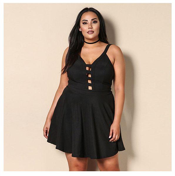 Plus size mulheres vestidos de verão sem encosto oco out strapless mangas roupas femininas sexy night club estilo casual clothing