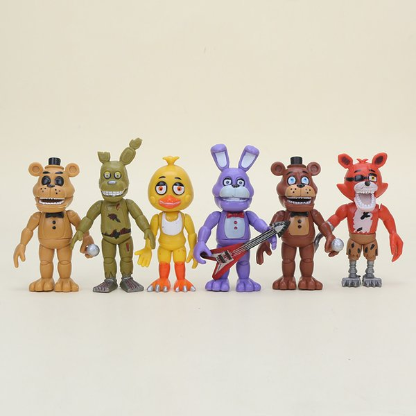 6pcs /Set Five Nights At Freddy 'S Action Figure Toys Fnaf 10cm Foxy Freddy Chica Freddy Sister Location Pvc Model Dolls Kids Gift