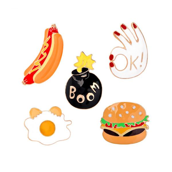 Fast Food Brosche Set Pizza Hamburger Hot Dogs Pochierte Eier Würfel Bomben Emaille Pin Hut Hemd Kragen Tasche Kette Broschen Weihnachtsgeschenk YD0039