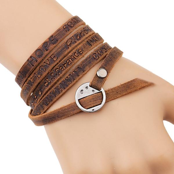 New Multilayer Genuine Leather Wrap Bracelet Dream Love Peace Be Inspirational Bracelet