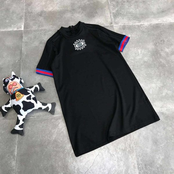 Yaz elbiseler spor marka tasarımcısı dress lüks dress uzun kısa kollu t-shirt tasarım kadın giyim siyah renk m-xl yüksek kalite