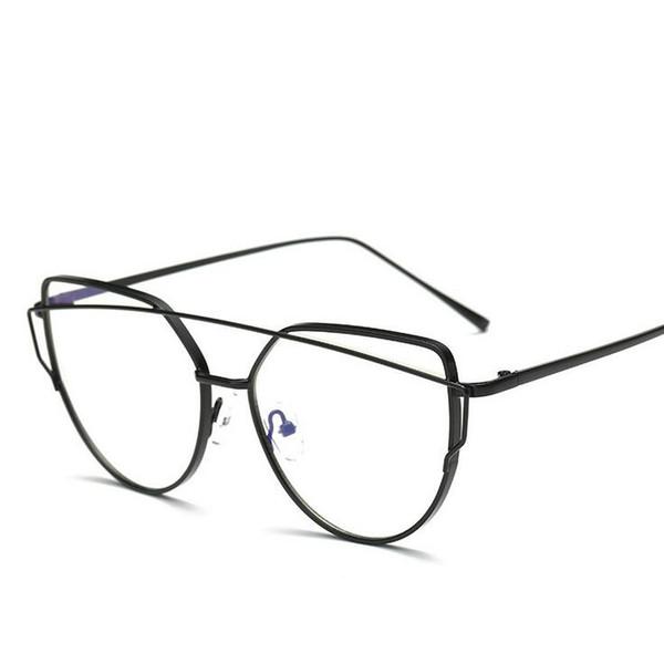 Black Golden Polygon Metal Frame Eyeglasses Clear Lens Fake Glasses Oversized Spectacle Eyewear Frames Women Men Oculos De Grau