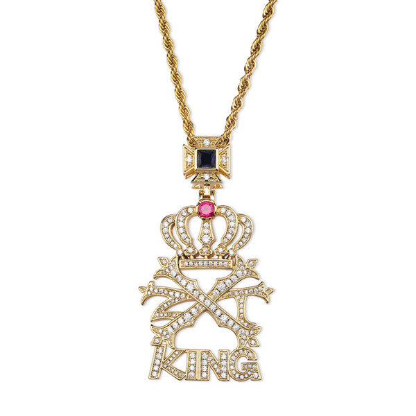 High Quality Hip Hop Jewelry CZ stone Crown Letter KING Pendant &Necklace Micro Paved Gold Color Bling Charm Chains Necklace