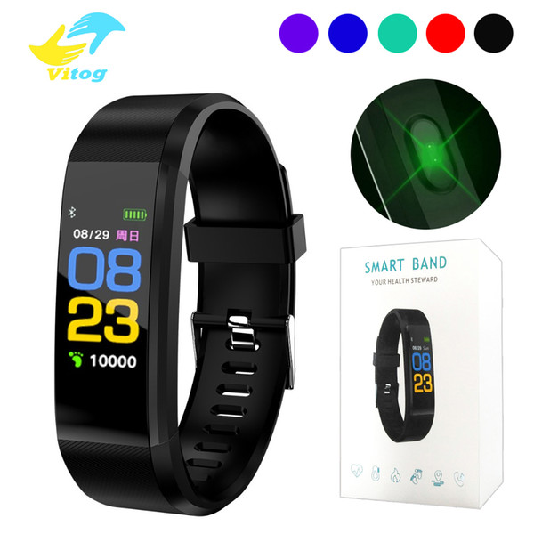 Id 115 plu mart bracelet mart port wri tband fitne activity tracker pedometer heart rate blood pre ure monitor for android io in box