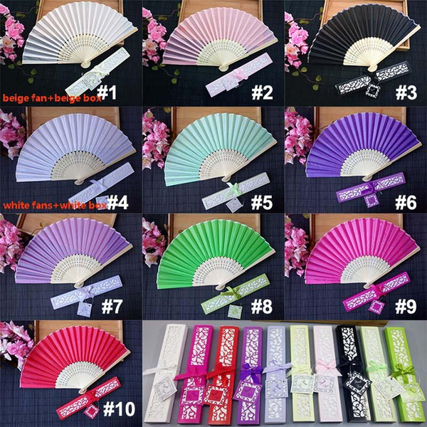 Personalized Wedding Favors and Gifts for Guest Silk Fan Cloth Wedding Decoration Hand Folding Fans With Gift Box