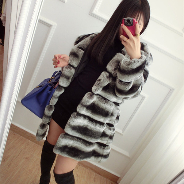 CNEGOVIK High quality chinchilla fur coats for women rex rabbit fur coat with hood real coat