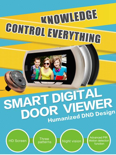 Kablosuz WiFi Peephole Kapı Zili Kamera 4.3 Inç Monitör Video Interkom HD 720 P Kapı zili Görüntüleyici desteği Gece Görüş PIR Hareket algılama