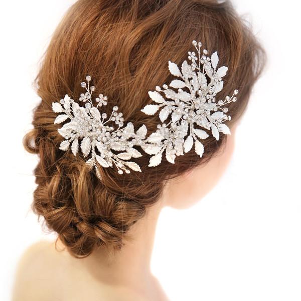 1 unids Diamond Fashion Leaves Vintage tocado de novia perlas de imitación perlas banda para el cabello diadema Headwear para la boda