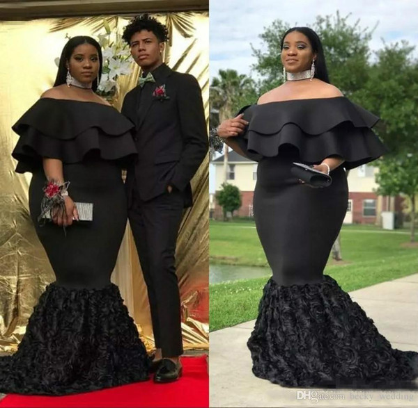 Mermaid Plus Size Prom Dresses Black Off The Shoulder Cheap Evening Gowns  Ruched Sweep Train 3D Rose Floral African Women Formal Party Dress Prom ...