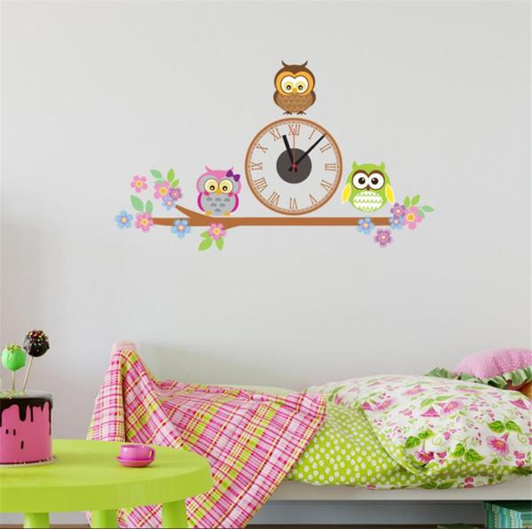 Cute Owl Wall Clocks Cartoon Sticker Large Decorative Wall Clocks Kids Bedroom Children Home Decor Big Kids Clock Reloj B68