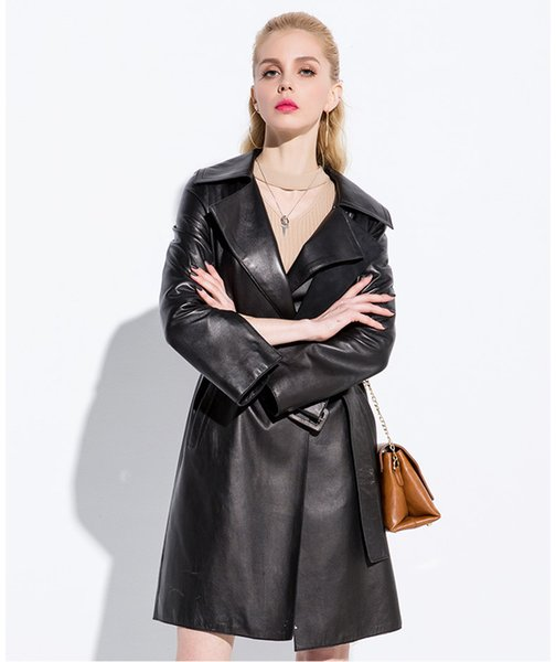 NEW Fashion Natural Sheepskin Coats Long Genuine Leather Jacket Female Autumn Winter Trench Coat Women Real Leather Z228