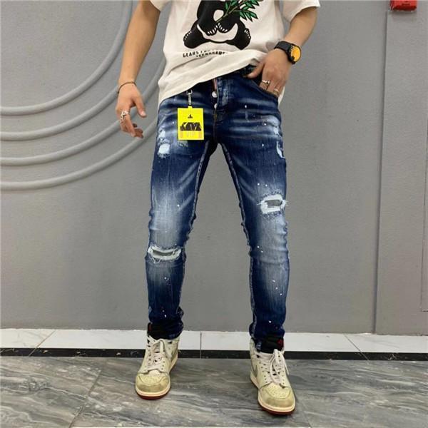 Brand New Mens Jeans Distressed Ripped Biker Jeans Slim Fit Motorcycle Biker Denim Jeans 2019 Fashion Designer Pants