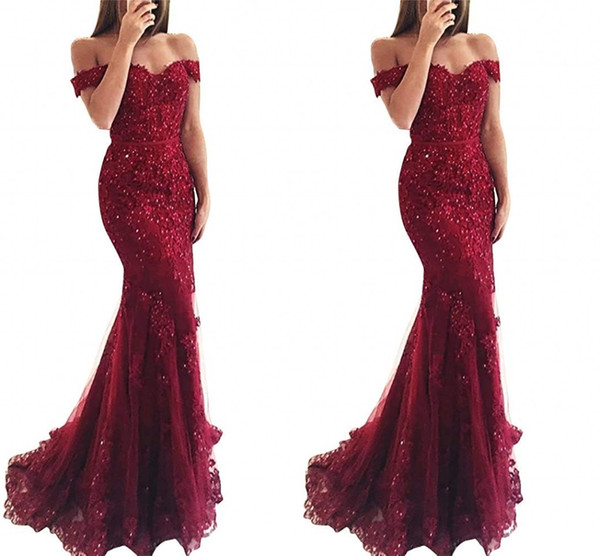 2019 New Burgundy Red Royal Blue Cheap Mermaid Prom Dresses Long Off Shoulder Beads Sequined Lace Applique Evening Party Wear Formal Dress