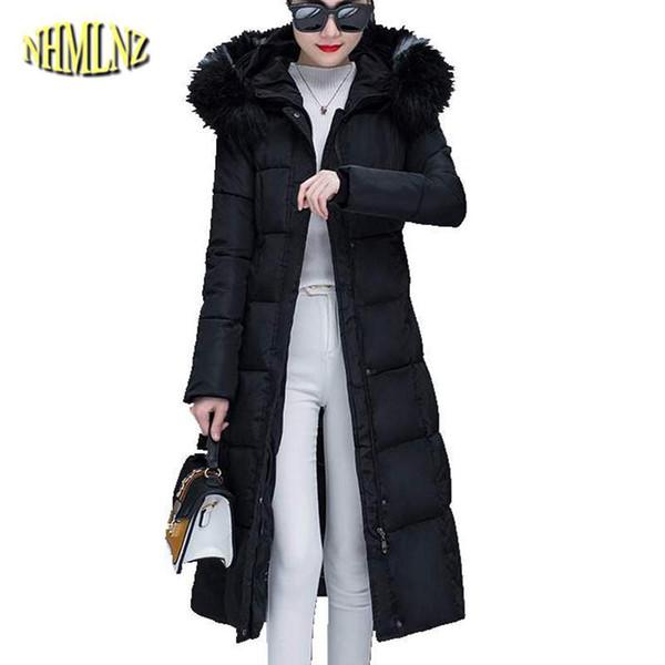 Chaqueta de algodón de las mujeres 2019 Moda de Invierno Nueva Delgada Hembra Parkas Con Capucha Cuello de Piel Largo Abrigo Grueso Ropa de Abrigo Caliente TU75 Coreano TU75