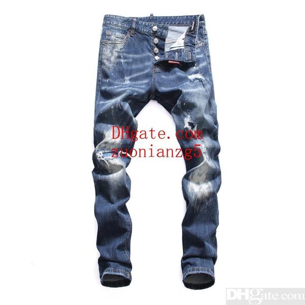 Calças de brim dos homens Bottoms Tooling denim 2019 novos produtos Slim fit Individualidade buraco design confortável Joelho patchc