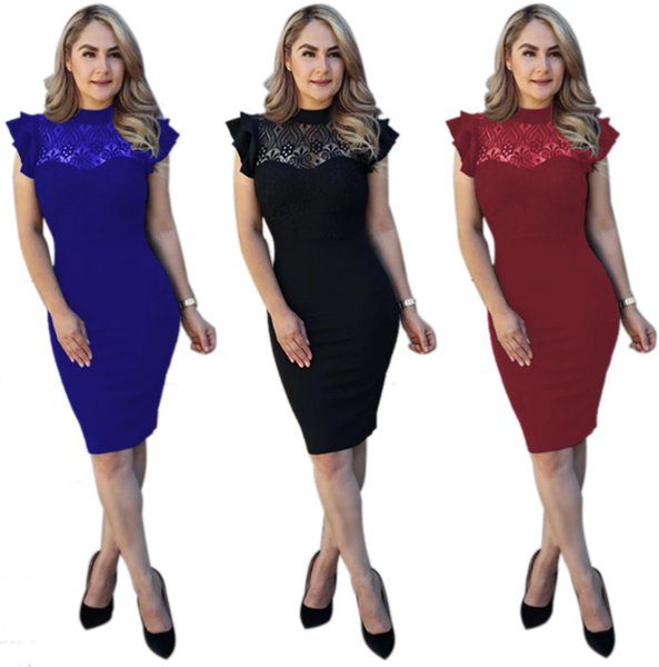 Casual Women Party Dresses Outfits Solid Color Lace Patchwork Short Sleeve O Neck High Waist Slim Lady Knee Length Dress