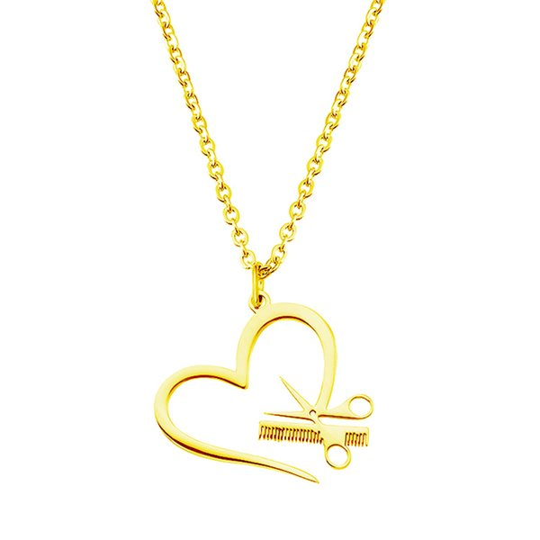 Scissors Comb Pendant Necklace Heart-shaped Stainless Steel Silver Gold Lover Link Chain For Women Gift Charm Jewelry -P