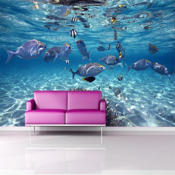 3d papel Resimleri Duvar Kağıdı 8d karikatür resimleri Oturma Odası Arka Plan Balıklar için Mavi deniz dünya 3d fotoğraf duvar 5d Duvar Çıkartmaları