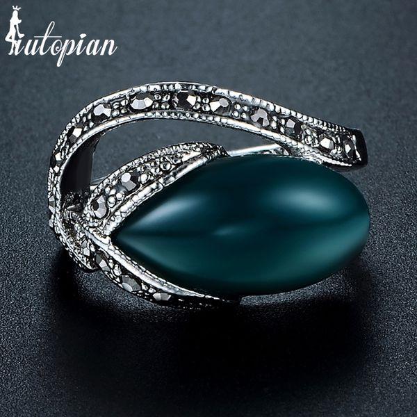 Anillos de joyería de moda Iutopian Brand Unique Tulip Flower Vintage Retro Ring Anels para mujeres Dos colores Metal ambiental # AA1849