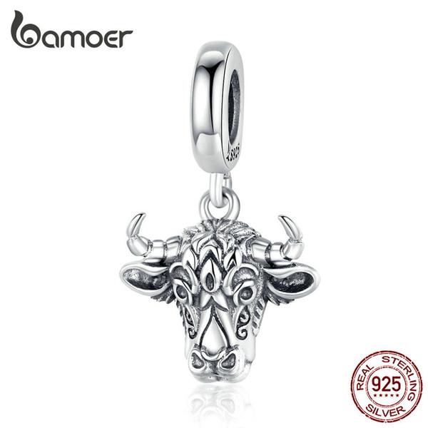 Vintage Bull Kolye Charm Orijinal Gümüş 925 Kazınmış Tauren Charms Fit Bilezik veya Kolye Kadın Erkek Takı