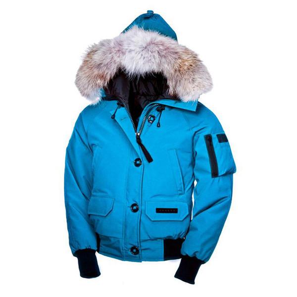 Moda-Erkek Kış Sıcak Ceket Kaz Chilliwack Bombacı Kaz Aşağı Ceket Bombacı Parka Gerçek Coyote Kürk Siyah Etiket kadın Aşağı Parkas