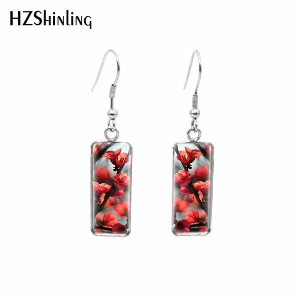 2019 neue Kirschblüte rechteckigen Ohrring Glaskuppel Schmuck rosa Blumen Art Floral Square Angelhaken Ohrringe