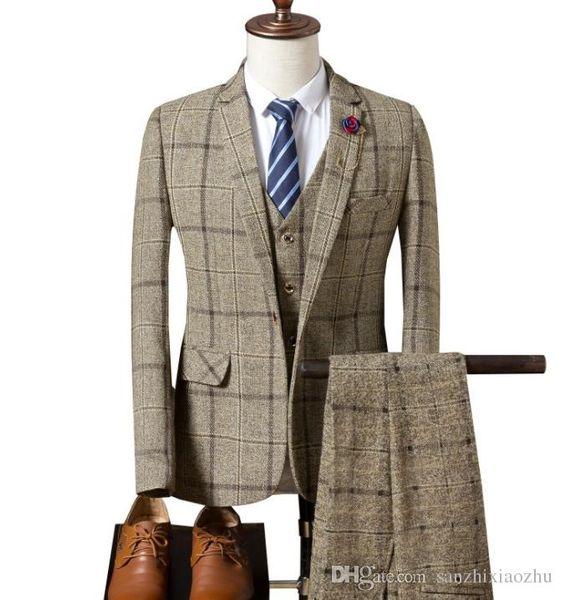 Dark Blue Check Men Suit Tailored Plaid Suits For Men, Mens Checkered Suit Gingham Tuxedo, Elegant Plaid Business Casual Suit