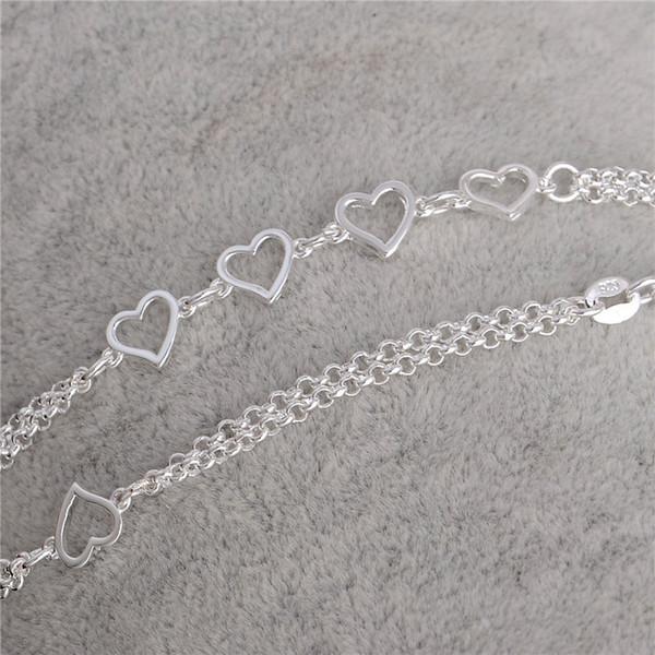 Lo nuevo 1PC 925 accesorios de la joyería del corazón del amor de la plata esterlina de las mujeres atractivas de la playa tobillera envío gratis