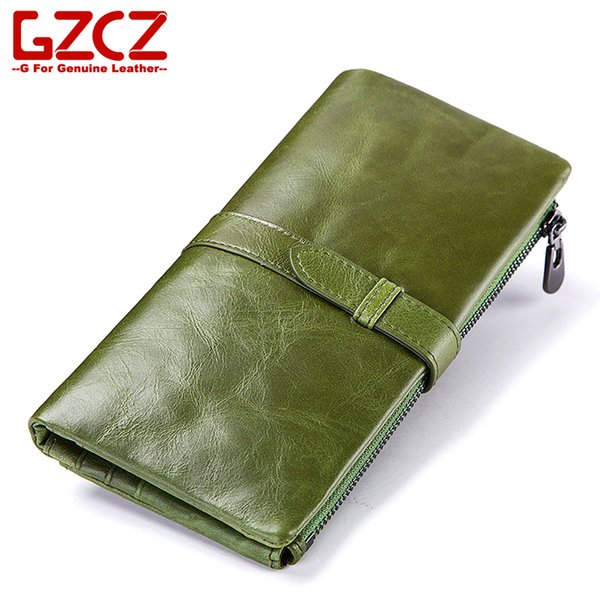 Fashion Genuine Leather Women Wallet New Cow Leather Female Purse Zipper Vallet Brand Clutch Big Capacity Money Bag Card Hold MX190718
