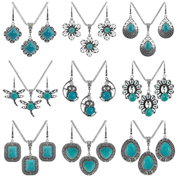 top popular Fashion Jewelry Sets Women Turquoise Earrings & Necklace Silver Plate White Rhinestone Flower Elephant Owl Heart Cross Bohemian Earring Party Dress Matching 2021