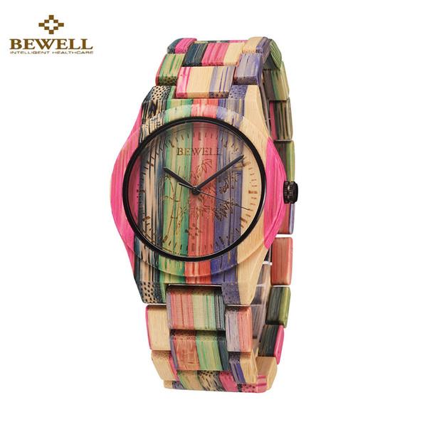 Montres BEWELL Mode Bambou Quartz Lover Hommes Femmes Montre Bambou En Bois Horloge Hommes Montre Pour Cadeau