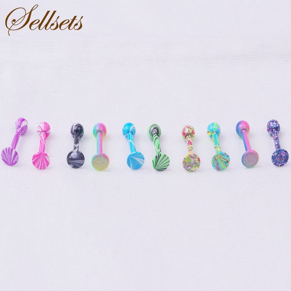 wholesale Wholesale 100 Pcs/Lot Rainbow Anodized Straight Ball Barbell Stainless Steel Lip Piercing Jewelry