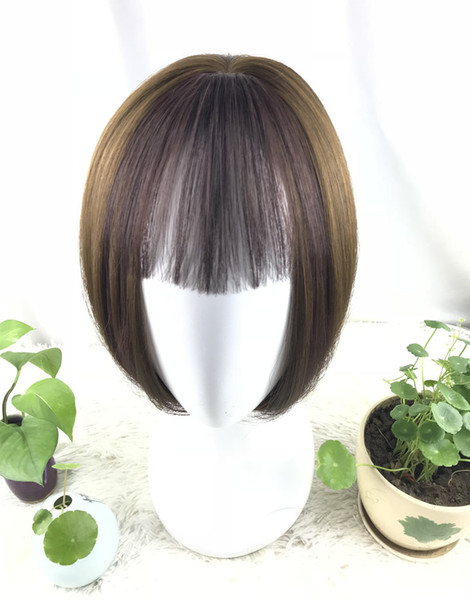 top popular 100% Real human hair bangs Clip In Bangs Extension Hand Tied Hair Bangs with Temples blonde 2019