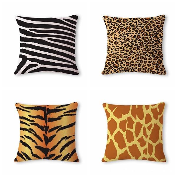 Beautiful Originality Leopard Print Pattern Cotton Flax Pillow Back Cushion